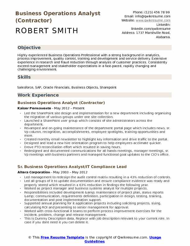 Business Operations Analyst (Contractor) Resume Sample