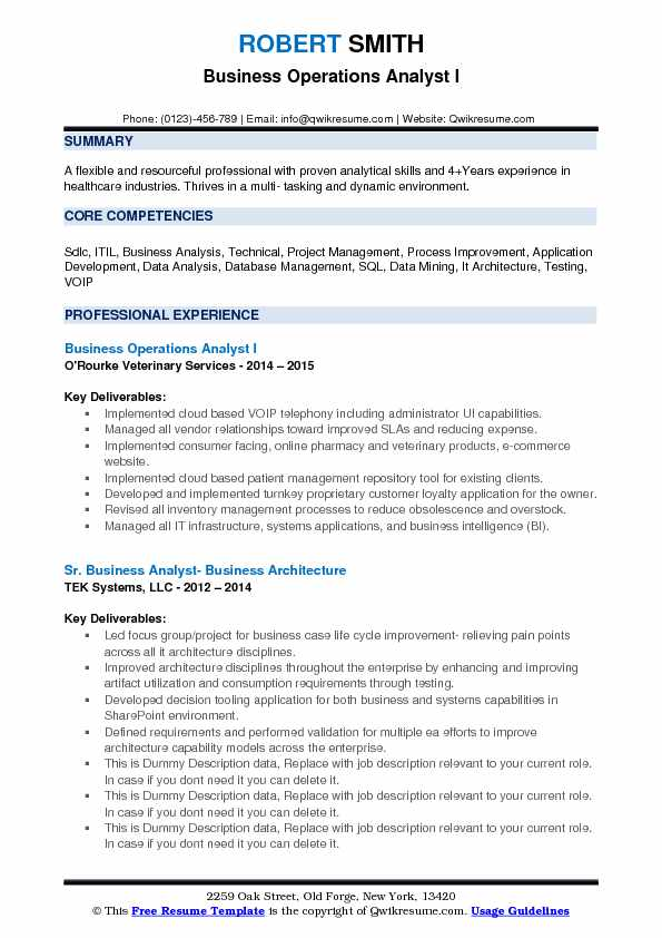 Business Operations Analyst I Resume Template
