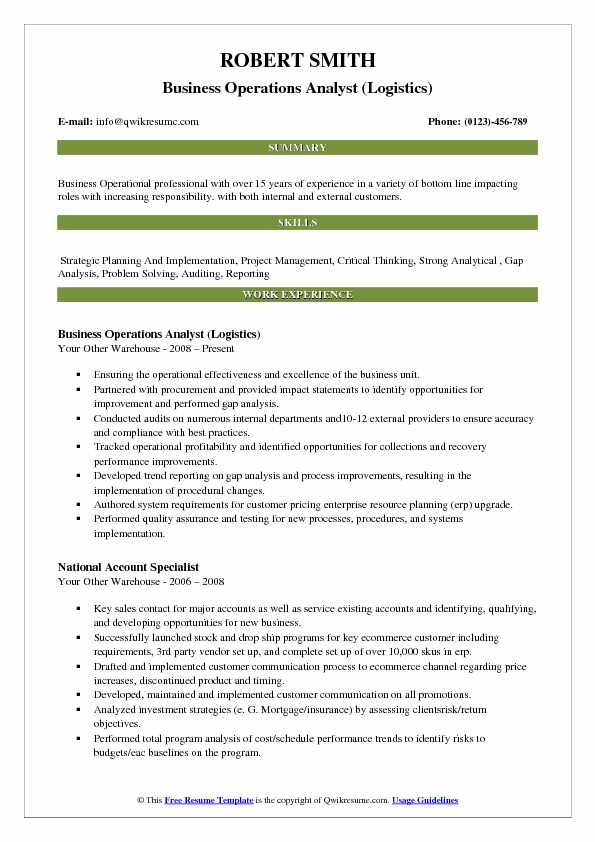 Business Operations Analyst (Logistics) Resume Example