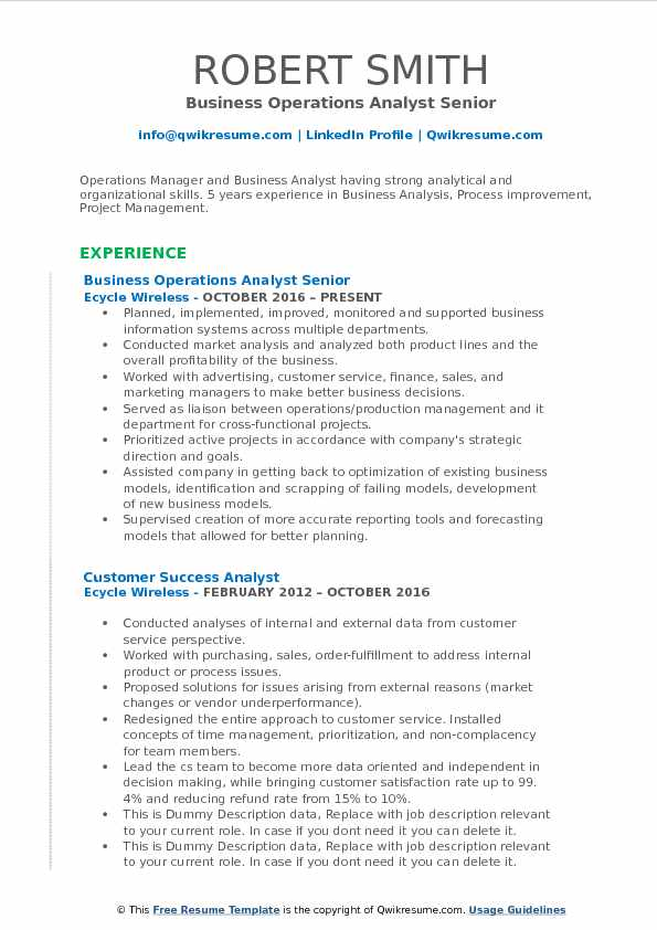 Business Operations Analyst Senior Resume Example