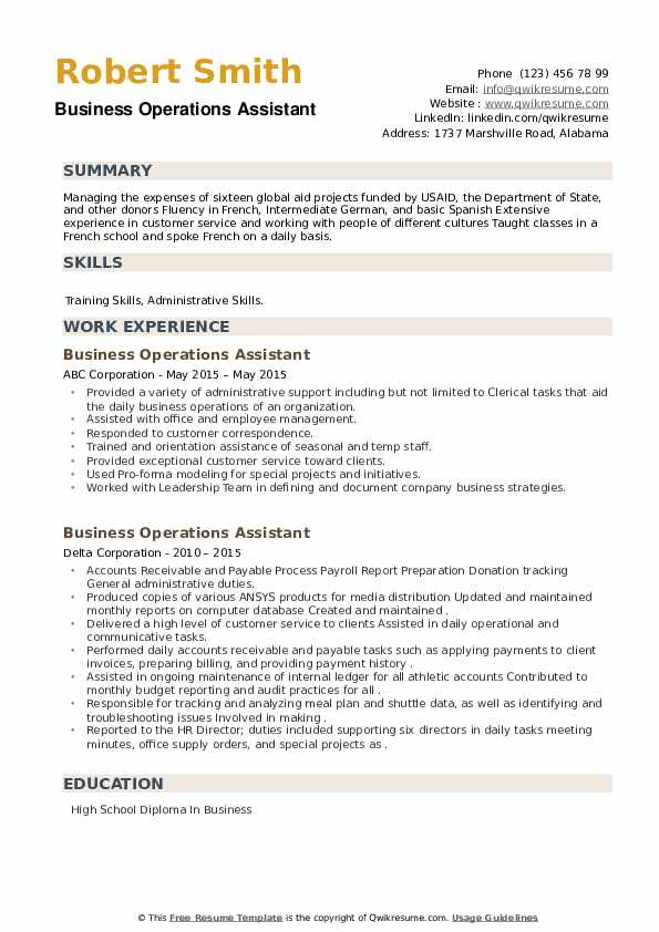 Business Operations Assistant Resume example