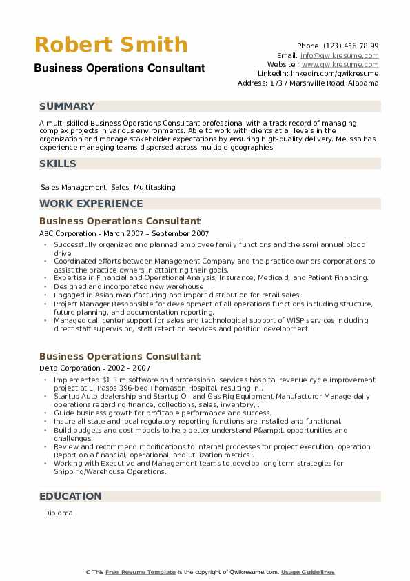 Business Operations Consultant Resume example
