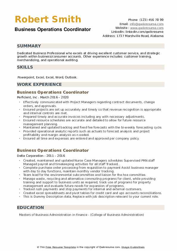 Business Operations Coordinator Resume example