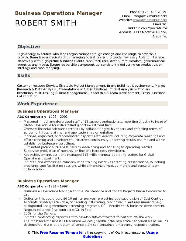 Business Operations Manager Resume Format