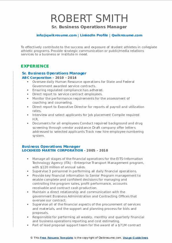 Sr. Business Operations Manager Resume Template
