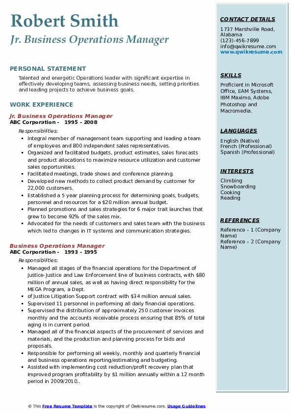 Jr. Business Operations Manager Resume Format