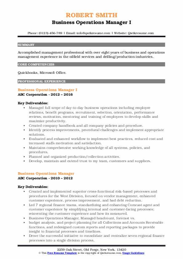 Business Operations Manager I Resume Example