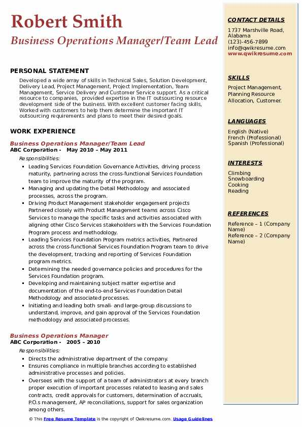 Business Operations Manager/Team Lead  Resume Sample