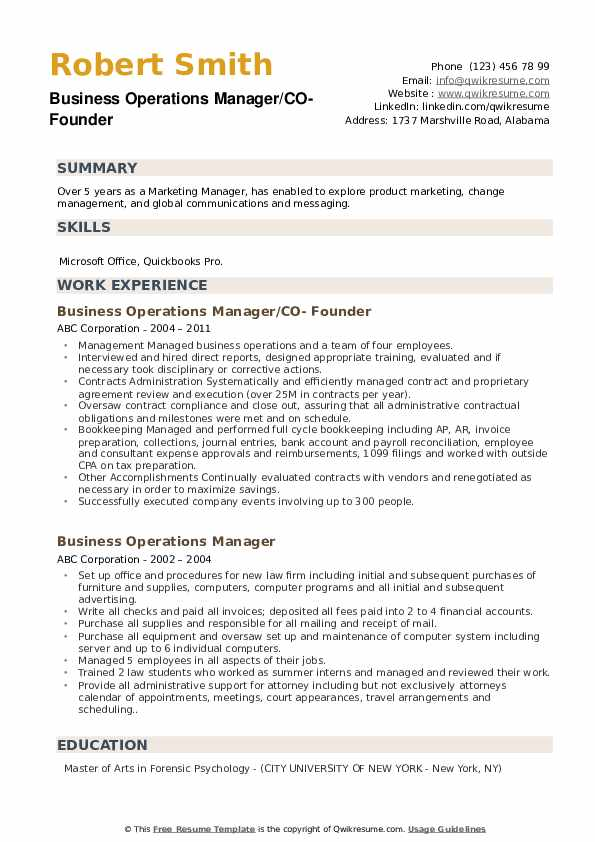 Business Operations Manager/CO- Founder Resume Template