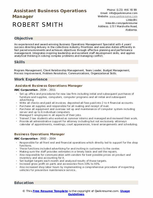 Assistant Business Operations Manager  Resume Template