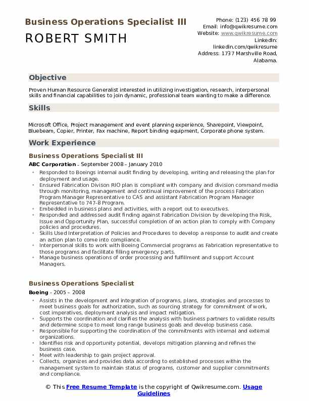 business operations specialist resume samples