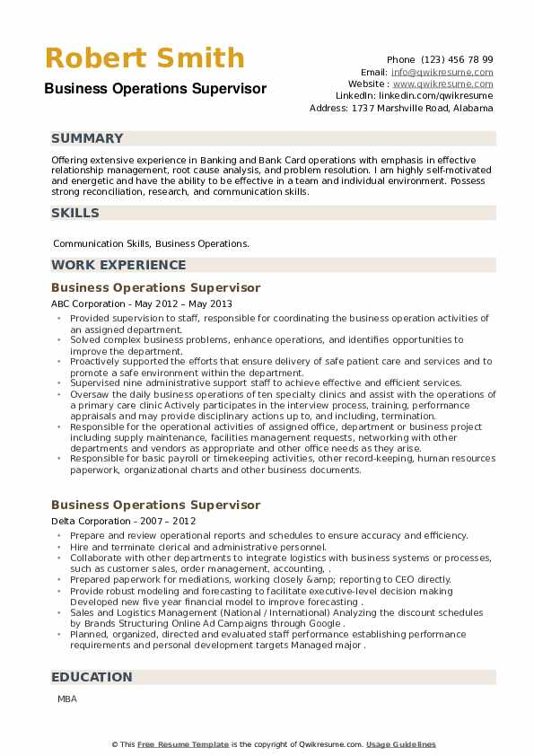 Business Operations Supervisor Resume example