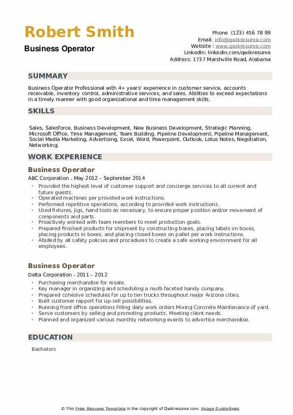 Business Operator Resume example