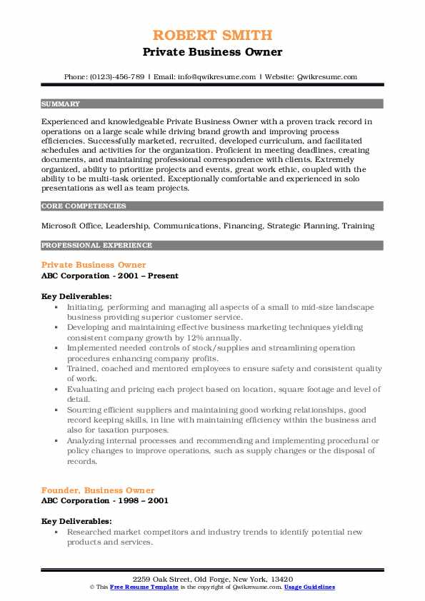 business owner resume samples