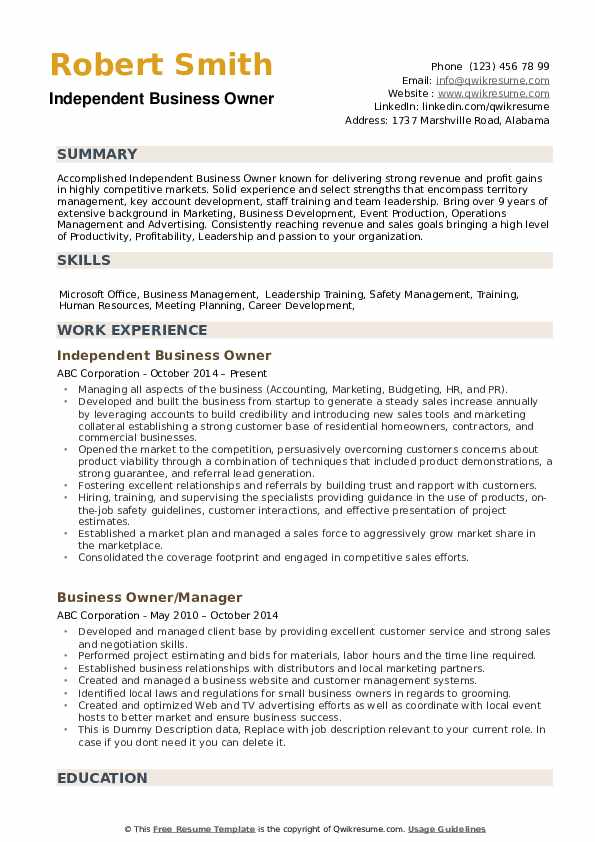 Business Owner Resume Samples Qwikresume