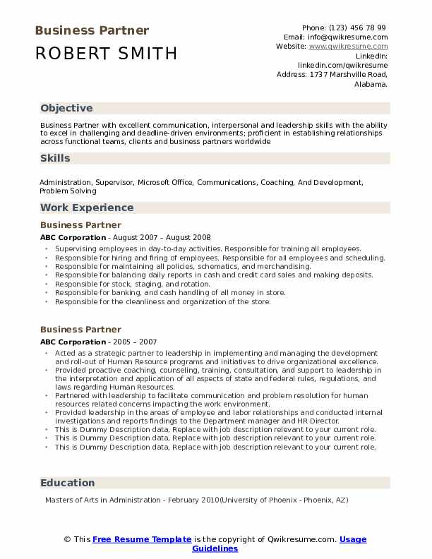 Business Partner Resume example