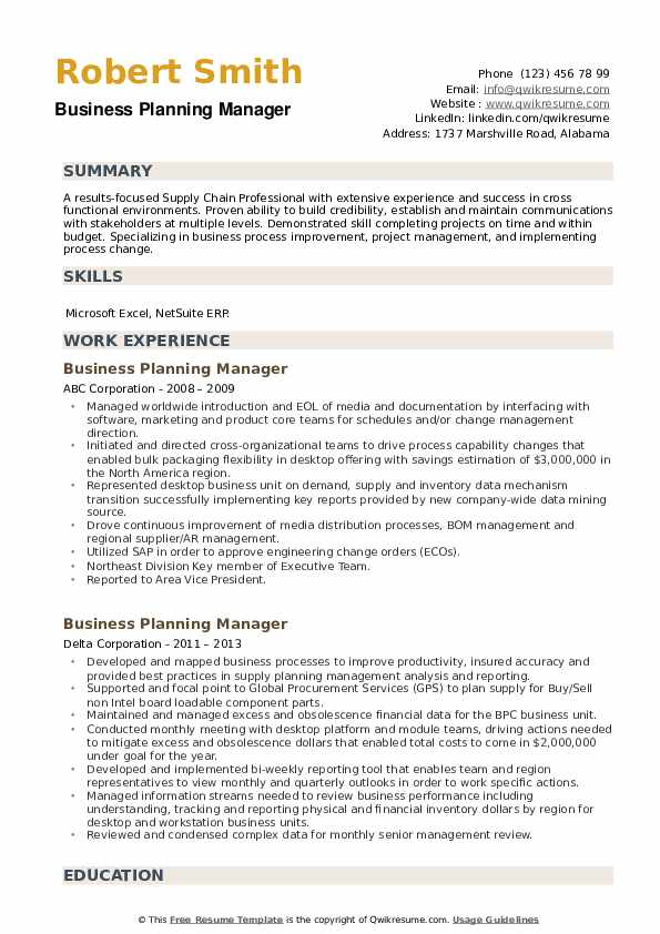 Business Planning Manager Resume example