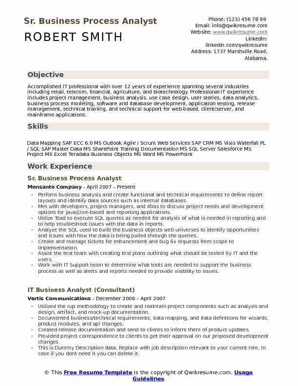 Sr Business Process Analyst Resume Template