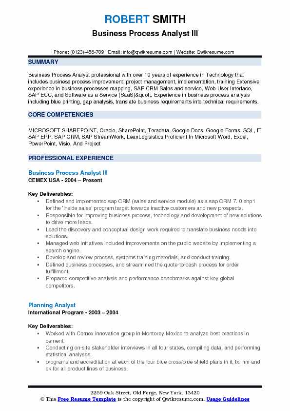 Business Process Analyst III Resume Model