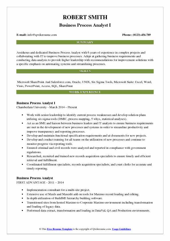 Business Process Analyst I Resume Template