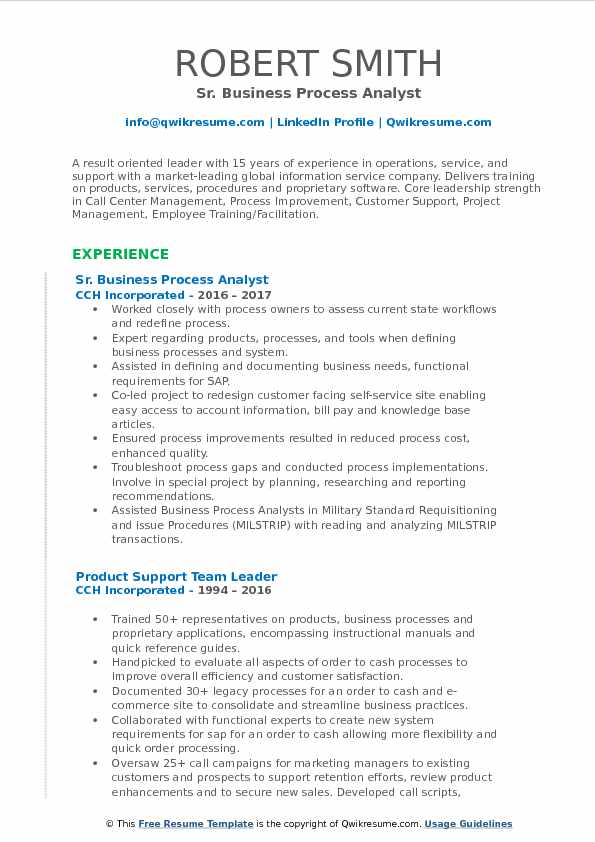 Sr. Business Process Analyst Resume Sample  Business Process Analyst Resume