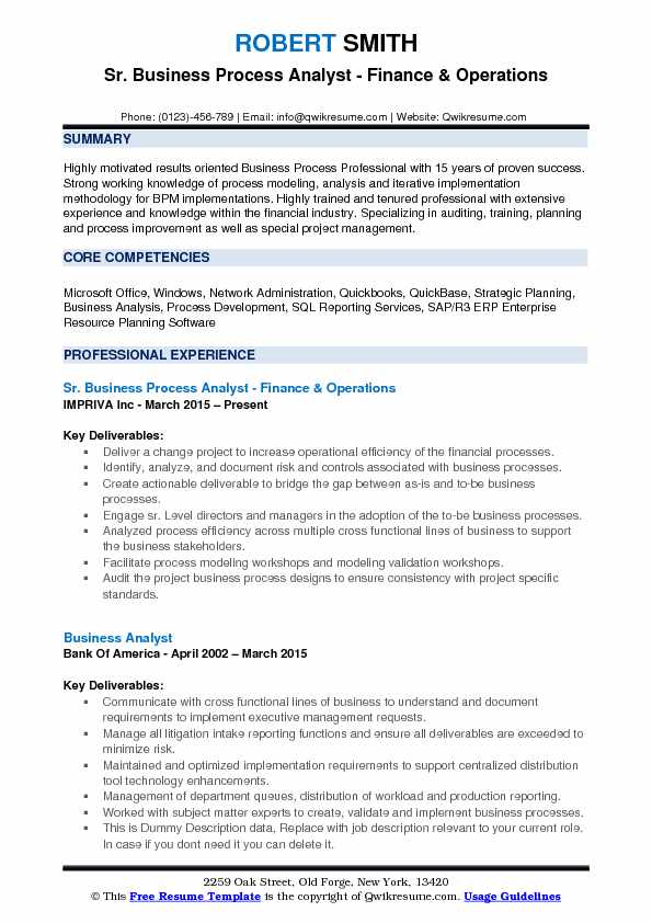 Lovely Business Process Analyst Resume Example Intended Business Process Analyst Resume
