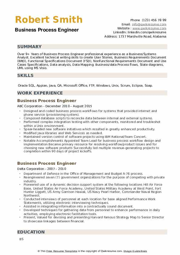Business Process Engineer Resume example