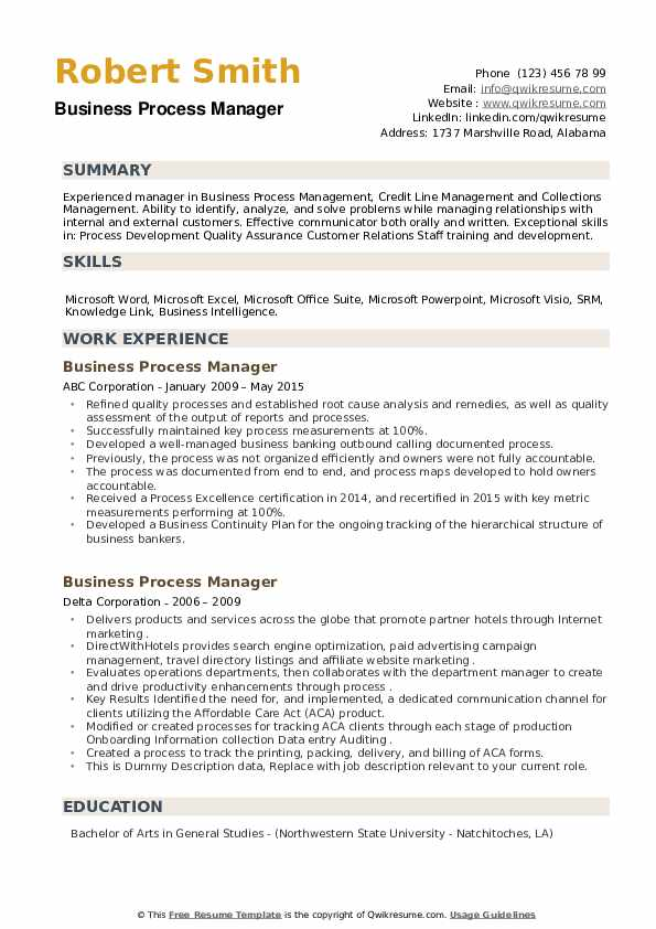 Business Process Manager Resume example