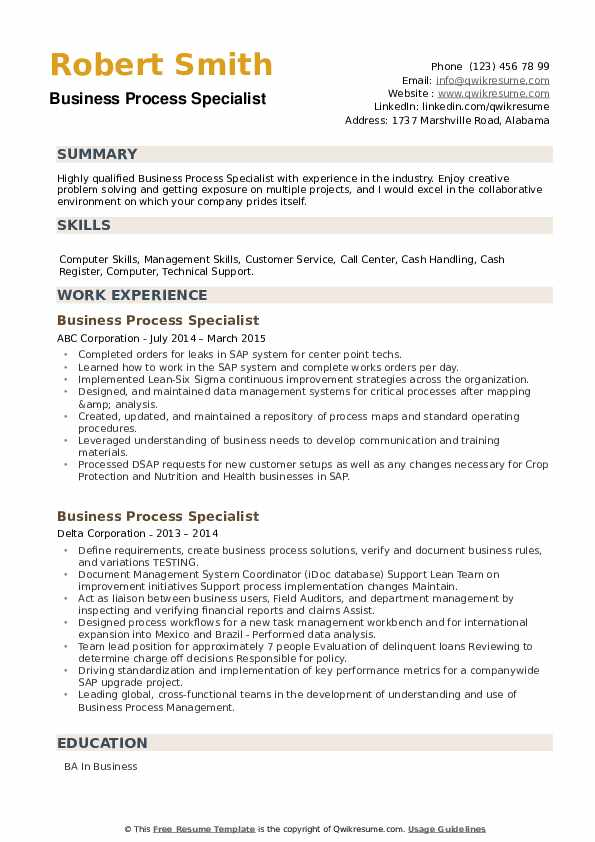 Business Process Specialist Resume example