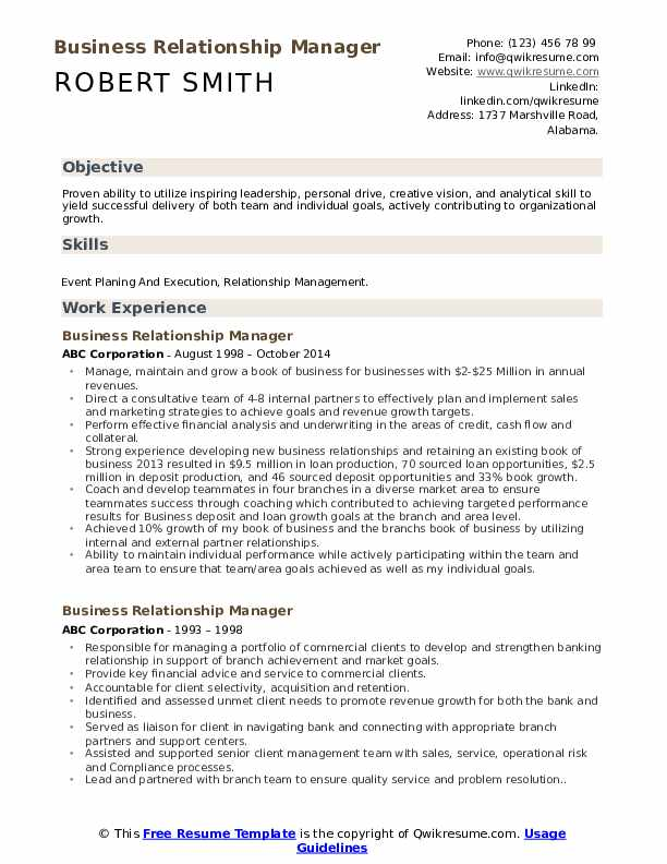 Business Relationship Manager Resume Template