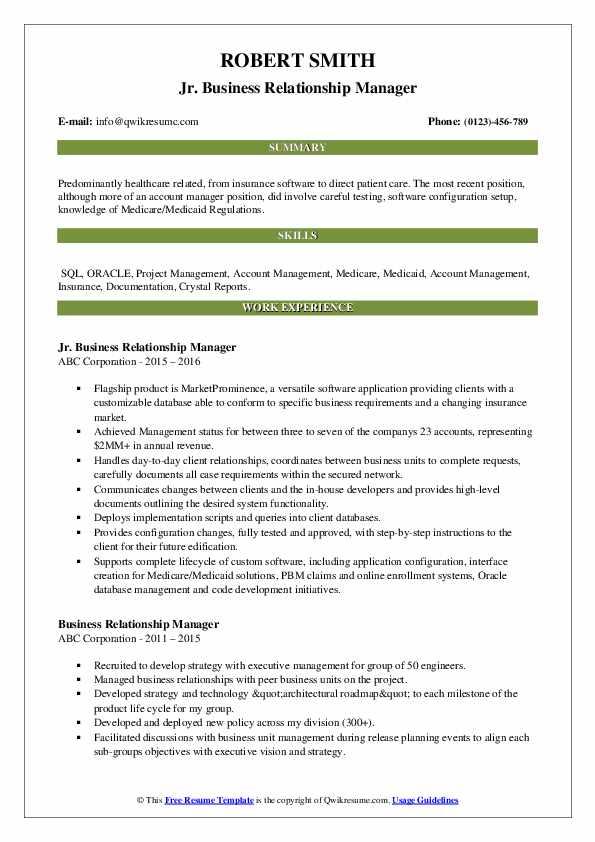 Jr. Business Relationship Manager Resume Model