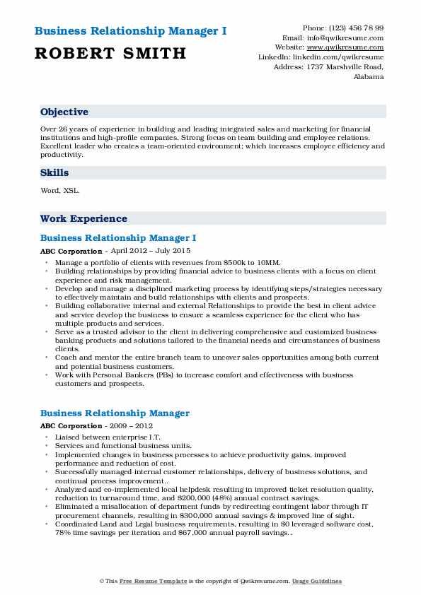 Business Relationship Manager I Resume Format