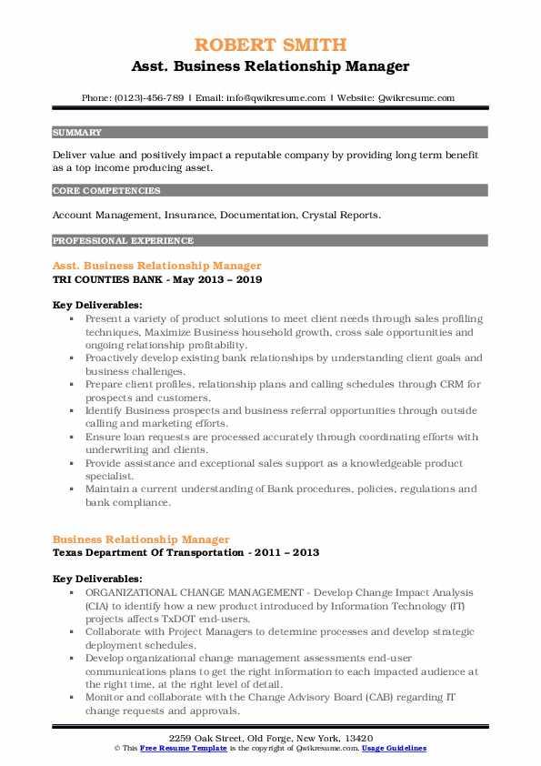 Asst. Business Relationship Manager Resume Format