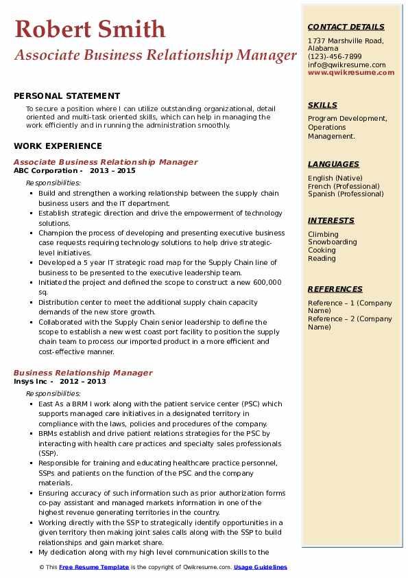 Associate Business Relationship Manager Resume Sample
