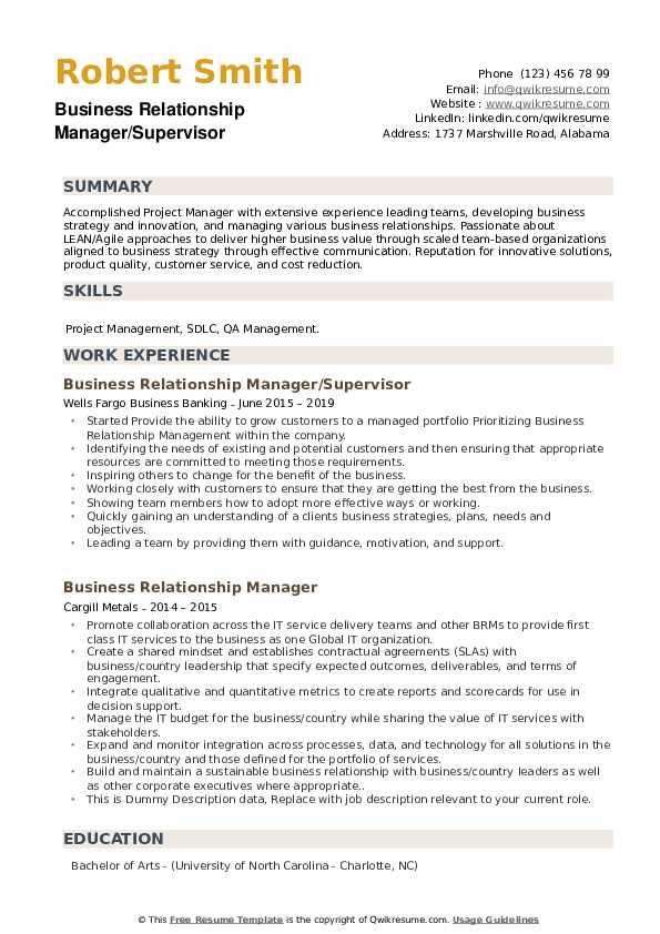 Business Relationship Manager/Supervisor Resume Sample