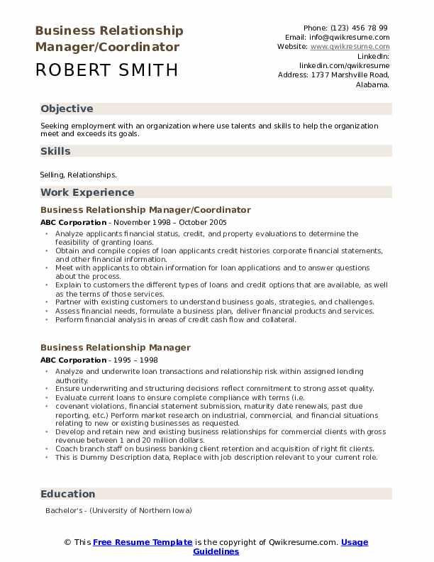 Business Relationship Manager/Coordinator Resume Model