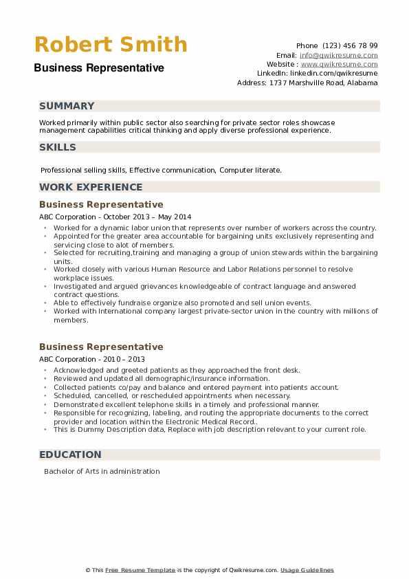Business Representative Resume example