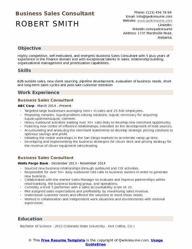 Business Sales Consultant Resume Sample