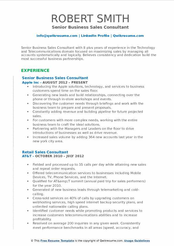 senior business sales consultant resume template