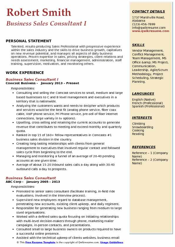 Business Sales Consultant I Resume Template