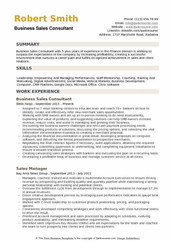 business sales consultant resume example