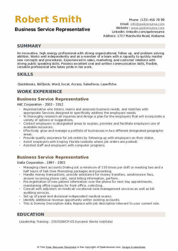 Business Service Representative Resume example