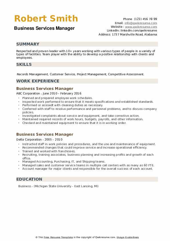 Business Services Manager Resume example