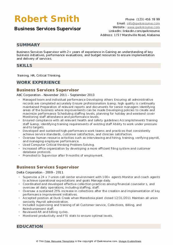 Business Services Supervisor Resume example