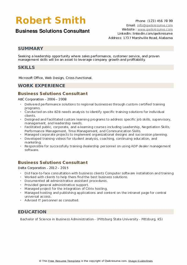 Business Solutions Consultant Resume example