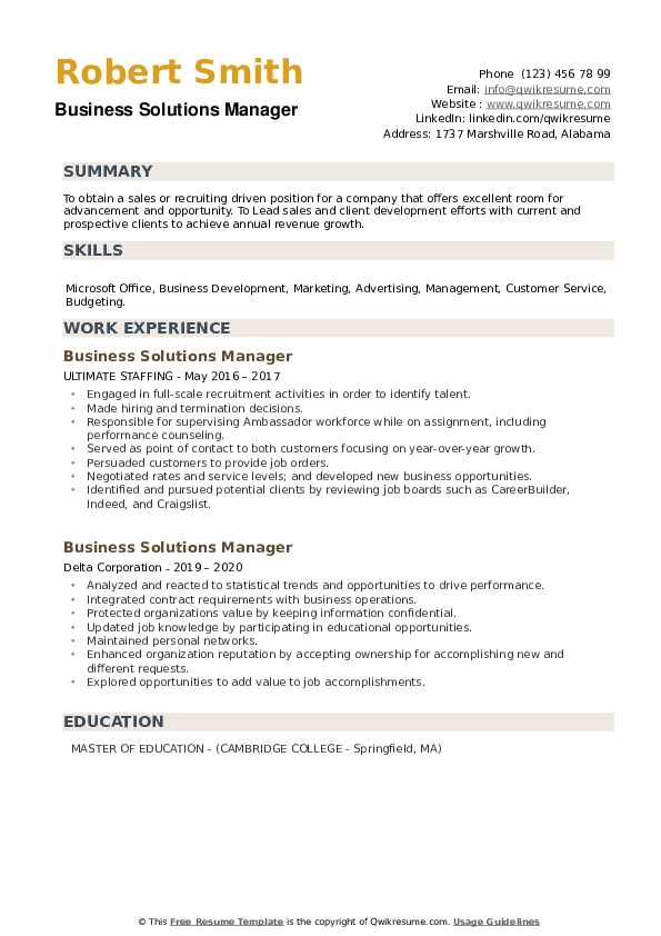 Business Solutions Manager Resume example