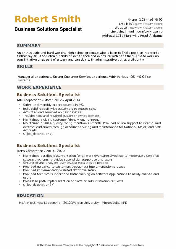 Business Solutions Specialist Resume example