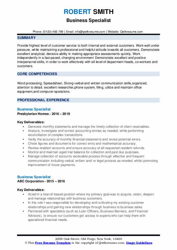 Business Specialist Resume example