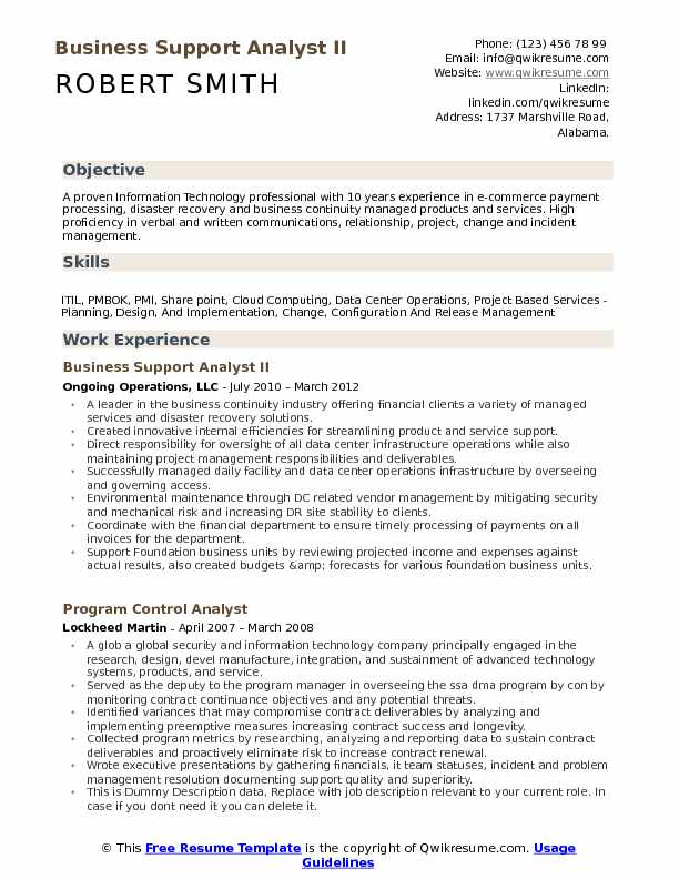 Business Support Analyst II Resume Example