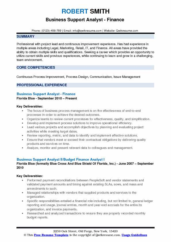 Business Support Analyst - Finance  Resume Sample